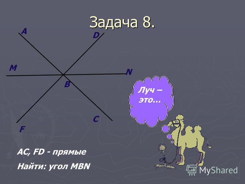 Задача 8. A F M C B N D AC, FD - прямые Найти: угол MBN Луч – это…