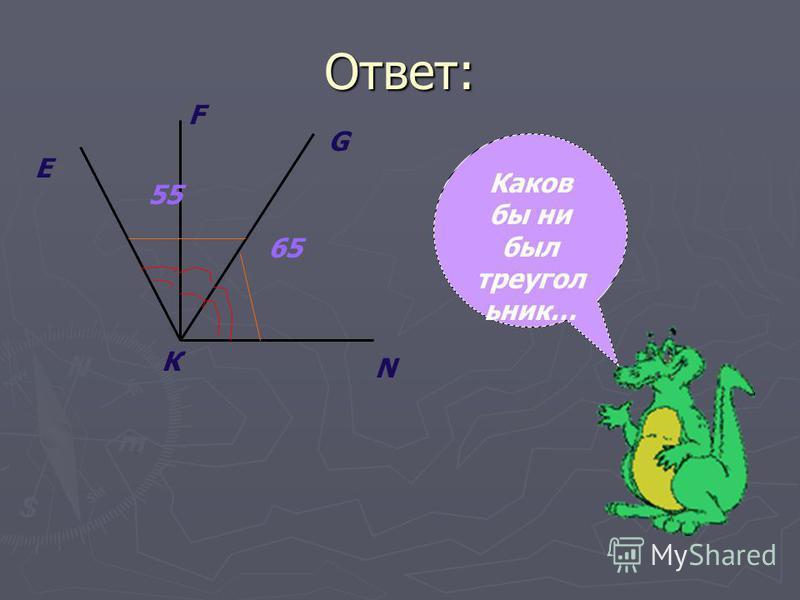 Ответ: Е К G F N 65 55 Каков бы ни был треугольник…