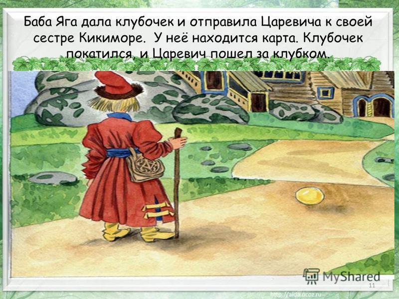 11 Баба Яга дала клубочек и отправила Царевича к своей сестре Кикиморе. У неё находится карта. Клубочек покатился, и Царевич пошел за клубком.