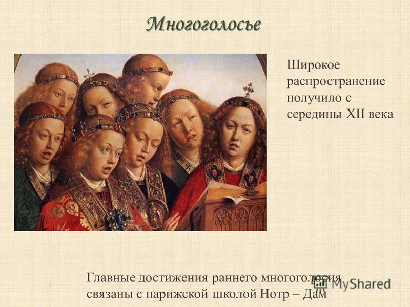 Многоголосье Широкое распространение получило с середины XII века Главные достижения раннего многоголосия связаны с парижской школой Нотр – Дам