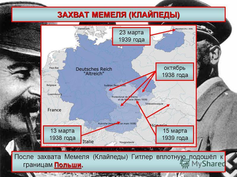 ЗАХВАТ МЕМЕЛЯ (КЛАЙПЕДЫ) Польши. После захвата Мемеля (Клайпеды) Гитлер вплотную подошёл к границам Польши. 13 марта 1938 года октябрь 1938 года 15 марта 1939 года 23 марта 1939 года