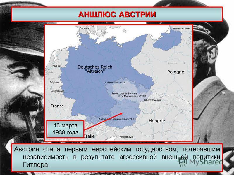 АНШЛЮС АВСТРИИ Австрия стала первым европейским государством, потерявшим независимость в результате агрессивной внешней политики Гитлера. 13 марта 1938 года