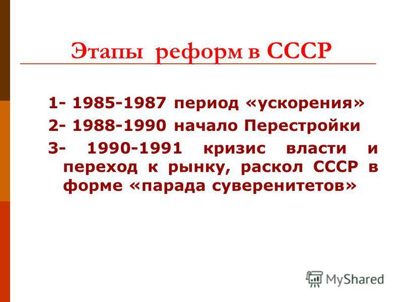 Этапы реформ в СССР 1- 1985-1987 период «ускорения» 2- 1988-1990 начало Перестройки 3- 1990-1991 кризис власти и переход к рынку, раскол СССР в форме «парада суверенитетов»
