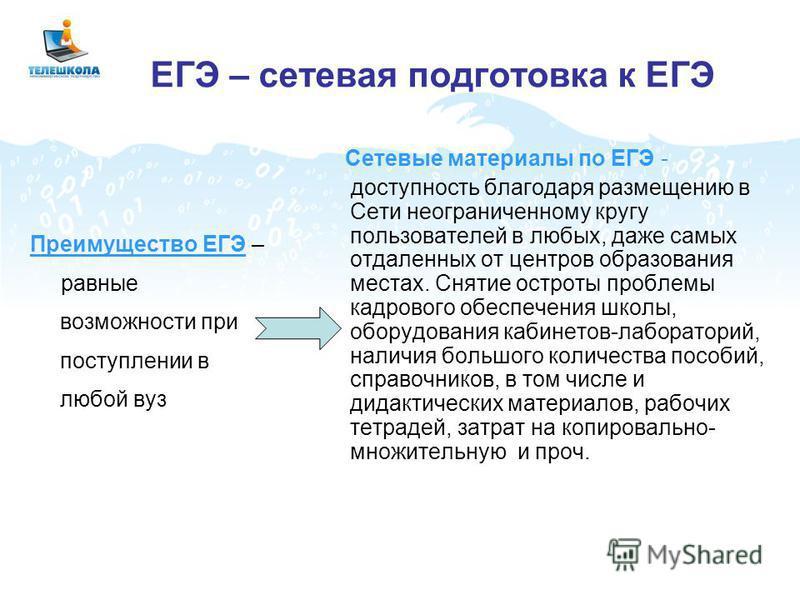 ЕГЭ – сетевая подготовка к ЕГЭ Преимущество ЕГЭ – равные возможности при поступлении в любой вуз Сетевые материалы по ЕГЭ - доступность благодаря размещению в Сети неограниченному кругу пользователей в любых, даже самых отдаленных от центров образова