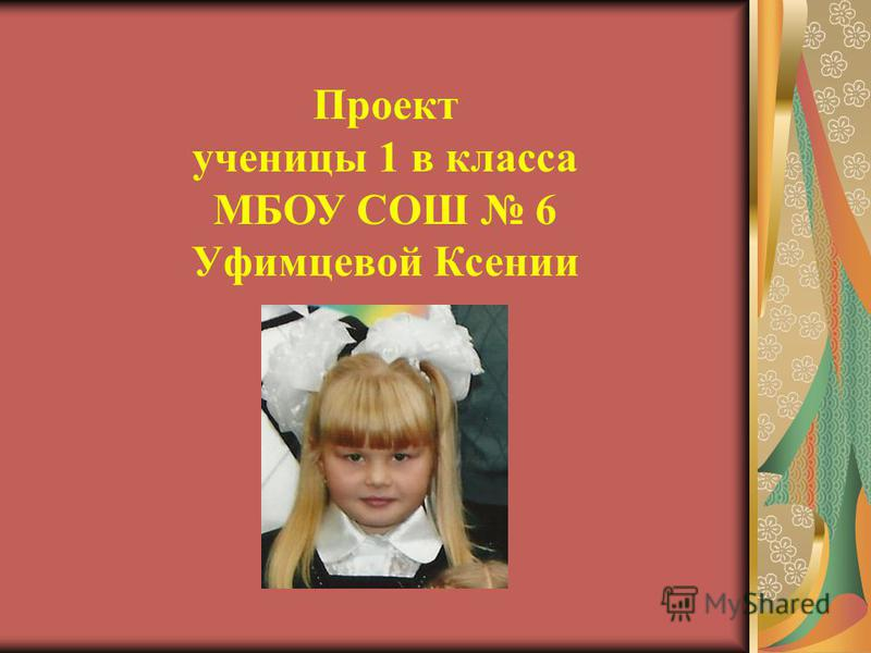 Проект ученицы 1 в класса МБОУ СОШ 6 Уфимцевой Ксении