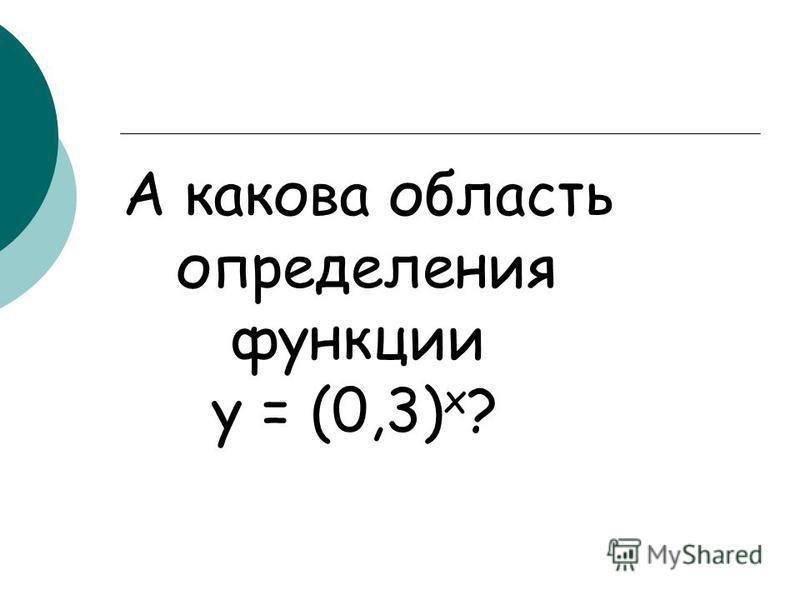 А какова область определения функции у = (0,3) х ?