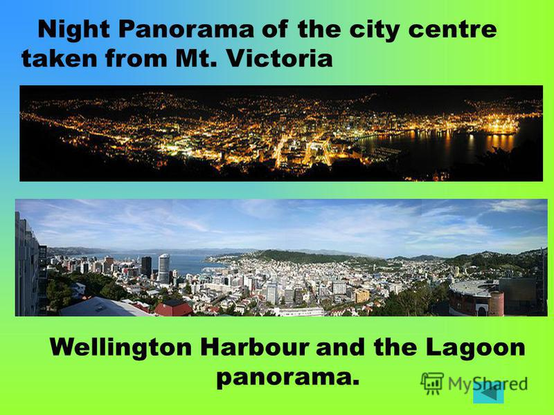 Night Panorama of the city centre taken from Mt. Victoria Wellington Harbour and the Lagoon panorama.