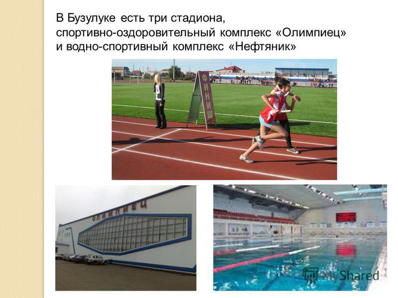 В Бузулуке есть три стадиона, спортивно-оздоровительный комплекс «Олимпиец» и водно-спортивный комплекс «Нефтяник»