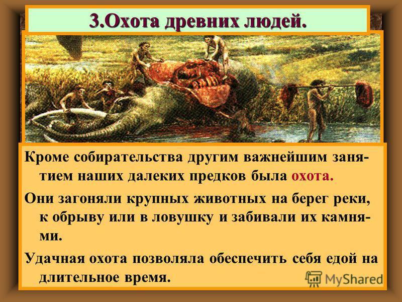 3. Охота древних людей. Кроме собирательства другим важнейшим занятием наших далеких предков была охота. Они загоняли крупных животных на берег реки, к обрыву или в ловушку и забивали их камня- ми. Удачная охота позволяла обеспечить себя едой на длит