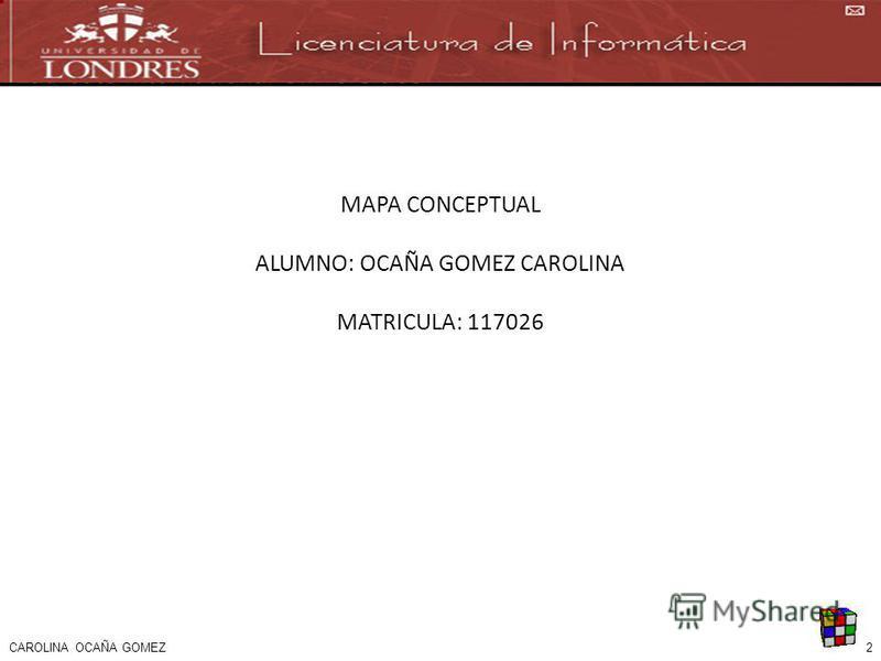 2 MAPA CONCEPTUAL ALUMNO: OCAÑA GOMEZ CAROLINA MATRICULA: 117026 CAROLINA OCAÑA GOMEZ