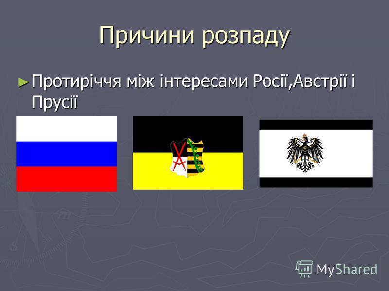 Причини розпаду Протиріччя між інтересами Росії,Австрії і Прусії Протиріччя між інтересами Росії,Австрії і Прусії