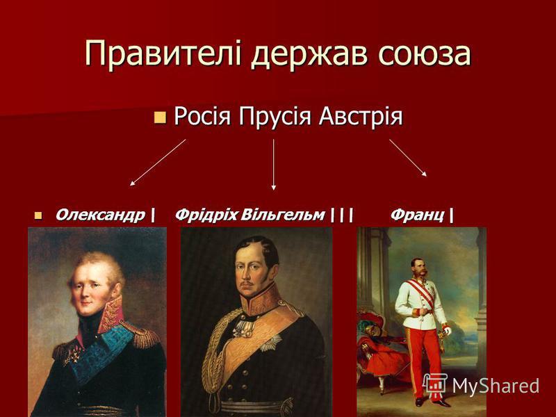 Правителі держав союза Росія Прусія Австрія Росія Прусія Австрія Олександр \ Фрідріх Вільгельм \\ Франц | Олександр \ Фрідріх Вільгельм \\ Франц |