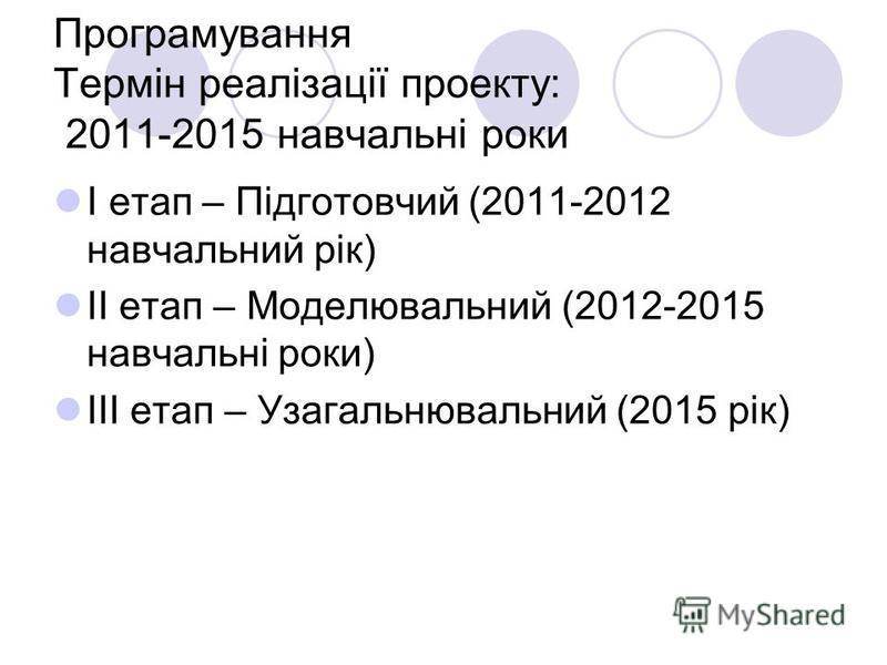 Програмування Термін реалізації проекту: 2011-2015 навчальні роки І етап – Підготовчий (2011-2012 навчальний рік) ІІ етап – Моделювальний (2012-2015 навчальні роки) ІІІ етап – Узагальнювальний (2015 рік)