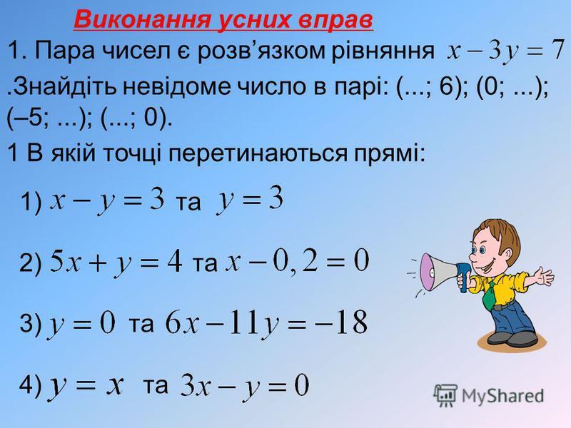 Виконання усних вправ 1. Пара чисел є розвязком рівняння.Знайдіть невідоме число в парі: (...; 6); (0;...); (–5;...); (...; 0). 1 В якій точці перетинаються прямі: 1) та 2) та 3) та 4) та
