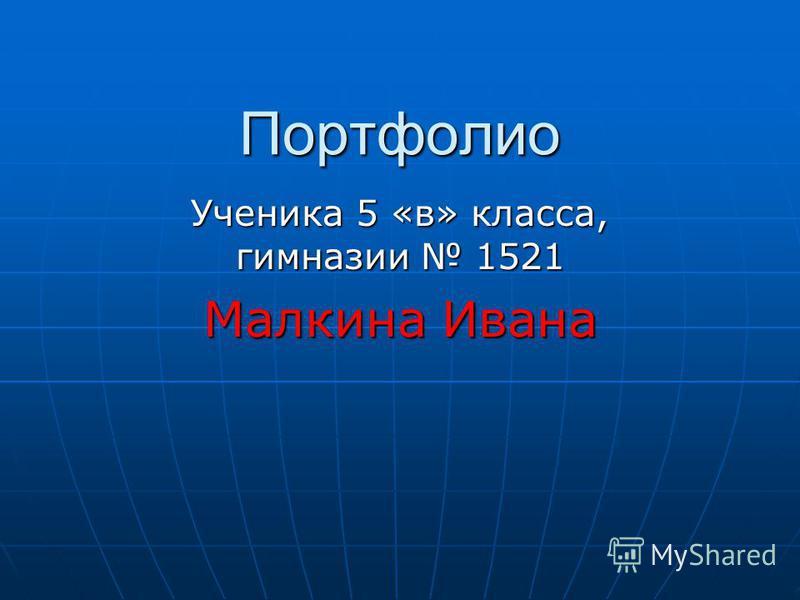 Портфолио Ученика 5 «в» класса, гимназии 1521 Малкина Ивана