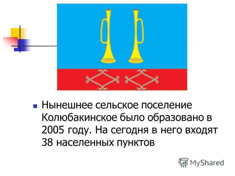Нынешнее сельское поселение Колюбакинское было образовано в 2005 году. На сегодня в него входят 38 населенных пунктов