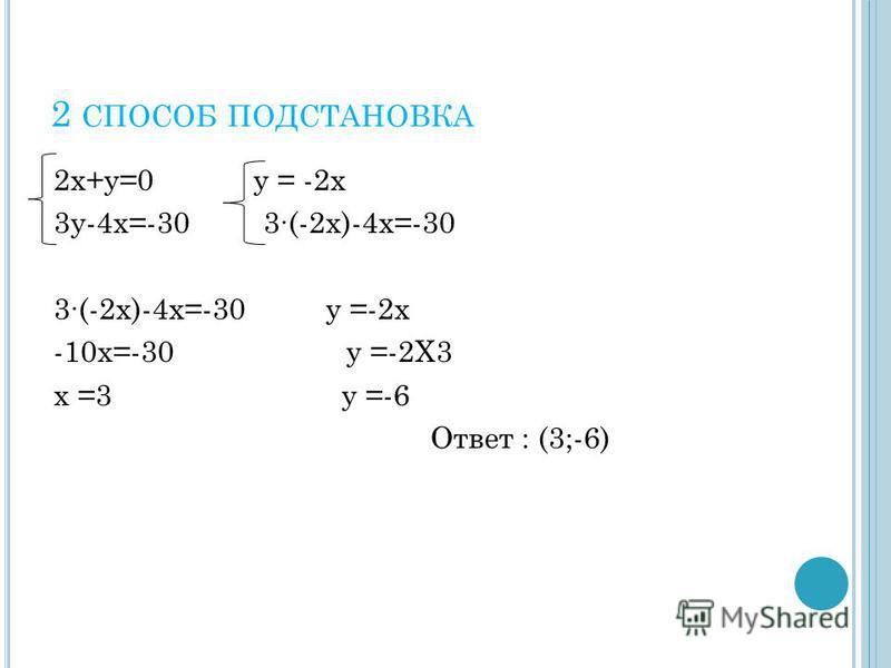 2 СПОСОБ ПОДСТАНОВКА 2 х+у=0 у = -2 х 3 у-4 х=-30 3(-2 х)-4 х=-30 3(-2 х)-4 х=-30 у =-2 х -10 х=-30 у =-2Х3 х =3 у =-6 Ответ : (3;-6)