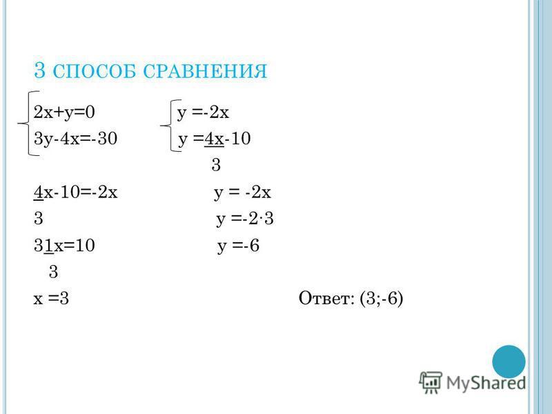3 СПОСОБ СРАВНЕНИЯ 2 х+у=0 у =-2 х 3 у-4 х=-30 у =4 х-10 3 4 х-10=-2 х у = -2 х 3 у =-23 31 х=10 у =-6 3 х =3 Ответ: (3;-6)
