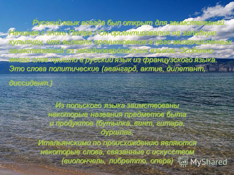 Русский язык всегда был открыт для заимствований. Начиная с эпохи Петра I Он ориентировался на западную культуру, что вызвало проникновение в него многочисленных заимствований из западноевропейских языков. Особенно много слов пришло в русский язык из