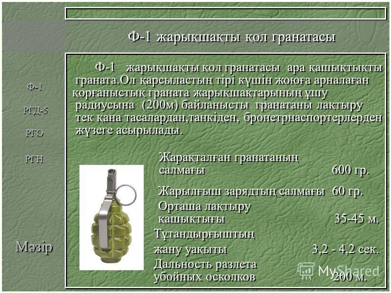 Мәзір Ф-1 жарықшақты қол гранатасы Ф-1 жарықшақты қол гранатасы ара қашықтықты граната.Ол қарсыластың тірі күшін жоюға арналаған қорғаныстық граната жарықшақтарының ұшу радиусы на (200 м) байланысты гранатный лақтыру тек қана тасалардан,танкіден, бро