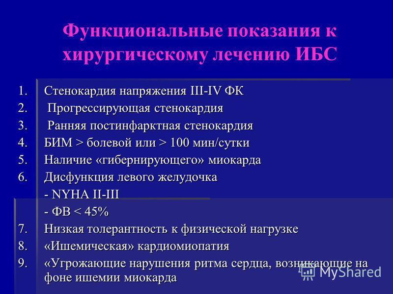 Функциональные показания к хирургическому лечению ИБС 1. Стенокардия напряжения III-IV ФК 2. Прогрессирующая стенокардия 3. Ранняя постинфарктная стенокардия 4. БИМ > болевой или > 100 мин/сутки 5. Наличие «гибернирующего» миокарда 6. Дисфункция лево