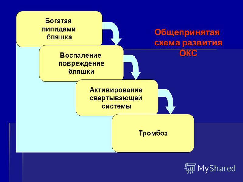 Богатая липидами бляшка Воспаление повреждение бляшки Активирование свертывающей системы Тромбоз Общепринятая схема развития ОКС
