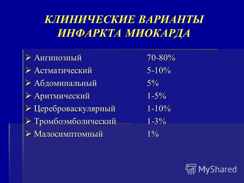 КЛИНИЧЕСКИЕ ВАРИАНТЫ ИНФАРКТА МИОКАРДА Ангинозный 70-80% Ангинозный 70-80% Астматический 5-10% Астматический 5-10% Абдоминальный 5% Абдоминальный 5% Аритмический 1-5% Аритмический 1-5% Цереброваскулярный 1-10% Цереброваскулярный 1-10% Тромбоэмболичес