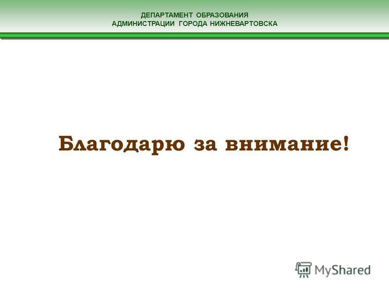 ДЕПАРТАМЕНТ ОБРАЗОВАНИЯ АДМИНИСТРАЦИИ ГОРОДА НИЖНЕВАРТОВСКА Благодарю за внимание!