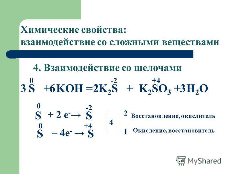 4. Взаимодействие со щелочами S + KOH = K 2 S + K 2 SO 3 + H 2 O Химические свойства: взаимодействие со сложными веществами 0 -2 +4 S 0 + 2 e - S -2 – 4e - S 0 S +4 4 2121 Восстановление, окислитель Окисление, восстановитель 3 6 2 3