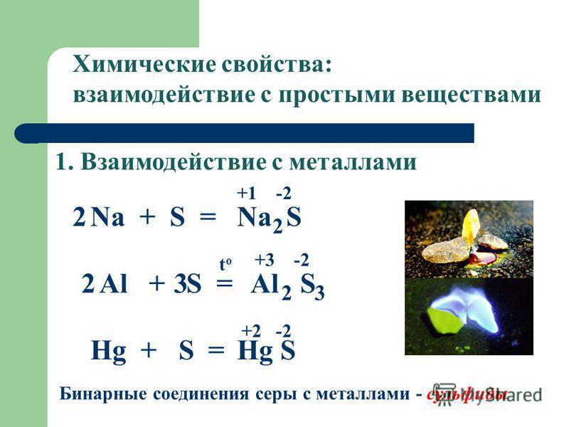 1. Взаимодействие с металлами Химические свойства: взаимодействие с простыми веществами Na + S =Na S +1 -2 2 2 Al + S =Al S toto +3 -2 2 3 Hg + S =Hg S +2 -2 Бинарные соединения серы с металлами - сульфиды