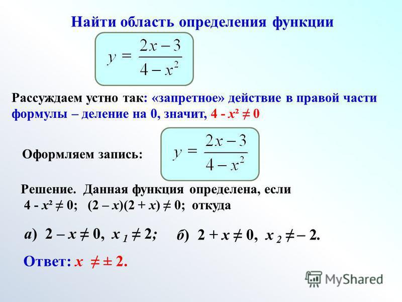 Найти область определения функции Рассуждаем устно так: «запретное» действие в правой части формулы – деление на 0, значит, 4 - х² 0 Оформляем запись: Решение. Данная функция определена, если 4 - х² 0; (2 – х)(2 + х) 0; откуда а) 2 – х 0, х 1 2; б) 2