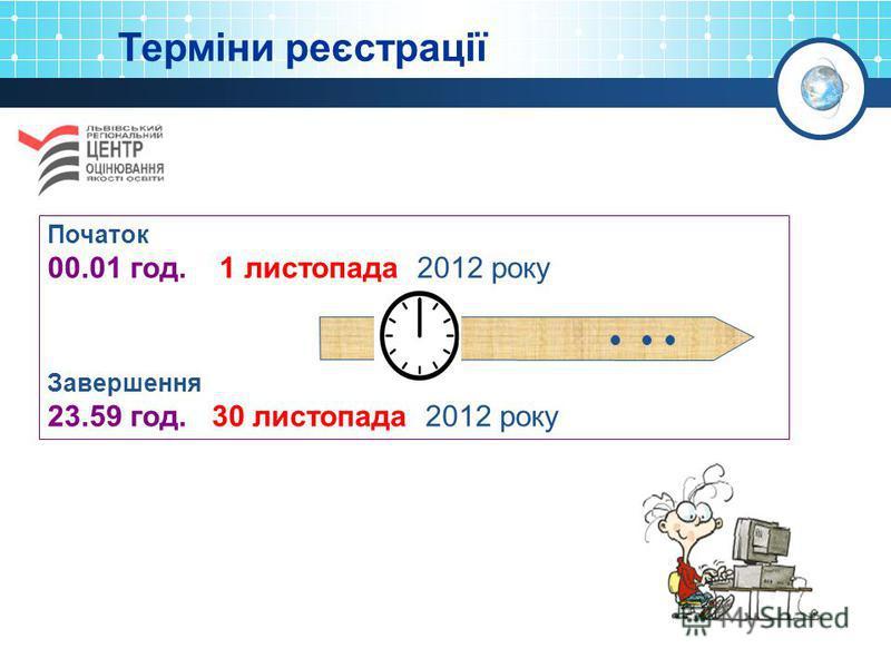 Терміни реєстрації Початок 00.01 год. 1 листопада 2012 року Завершення 23.59 год. 30 листопада 2012 року