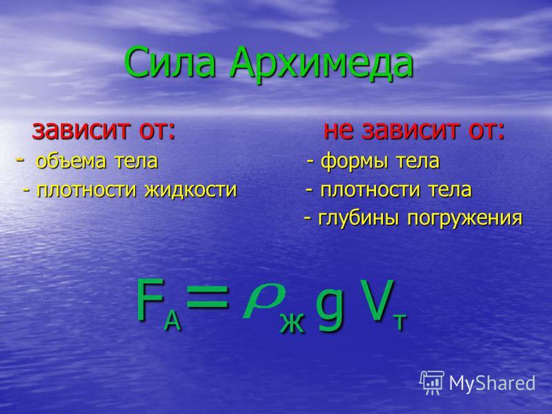Опыт с ведерком Архимеда