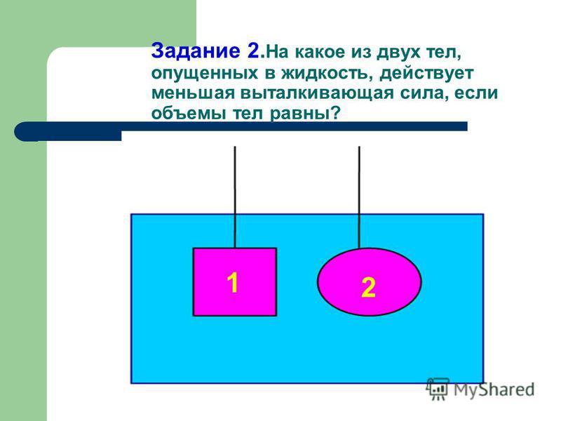 Задание 1. На какое из этих тел действует большая выталкивающая сила?