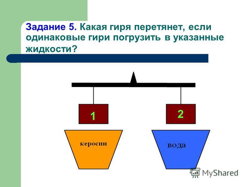 Задание 4. На какое из двух тел, опущенных в жидкость, действует большая выталкивающая сила?
