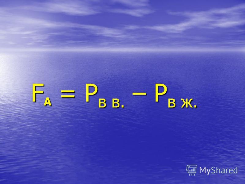 Сила Архимеда - Сила Архимеда - сила, выталкивающая тело из сила, выталкивающая тело из жидкости (газа) жидкости (газа) F А [ H ] F А [ H ]