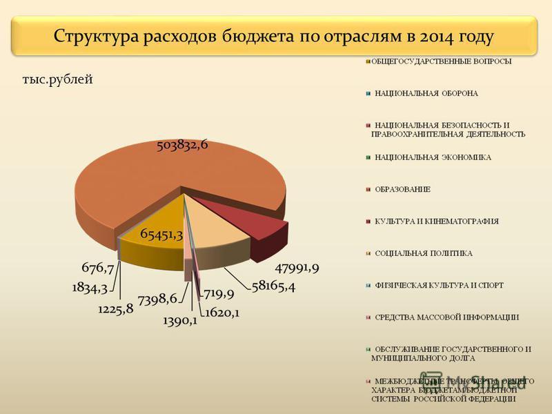 Структура расходов бюджета по отраслям в 2014 году тыс.рублей