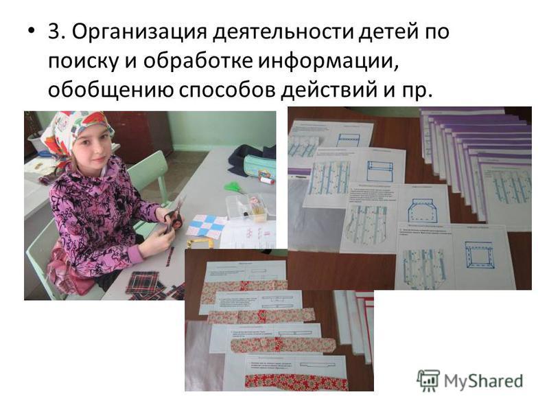 3. Организация деятельности детей по поиску и обработке информации, обобщению способов действий и пр.