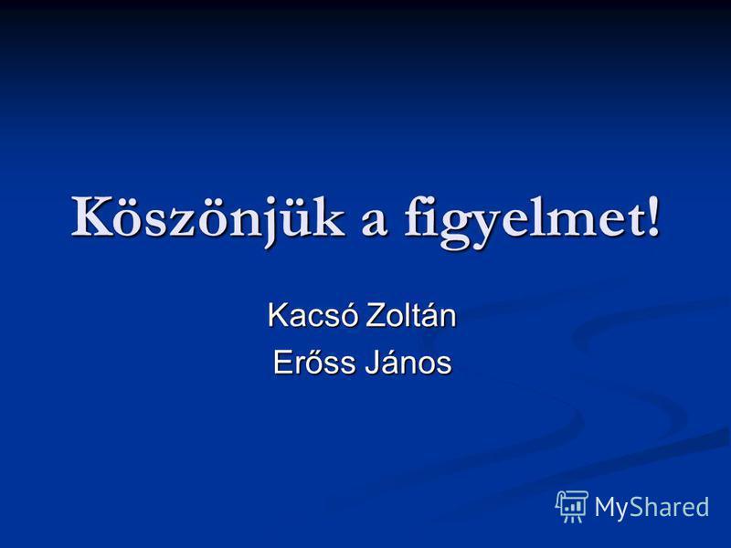 Köszönjük a figyelmet! Kacsó Zoltán Erőss János