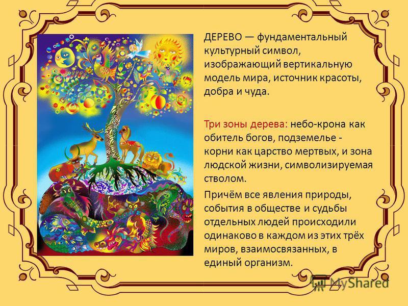 ДЕРЕВО фундаментальный культурный символ, изображающий вертикальную модель мира, источник красоты, добра и чуда. Три зоны дерева: небо-крона как обитель богов, подземелье - корни как царство мертвых, и зона людской жизни, символизируемая стволом. При