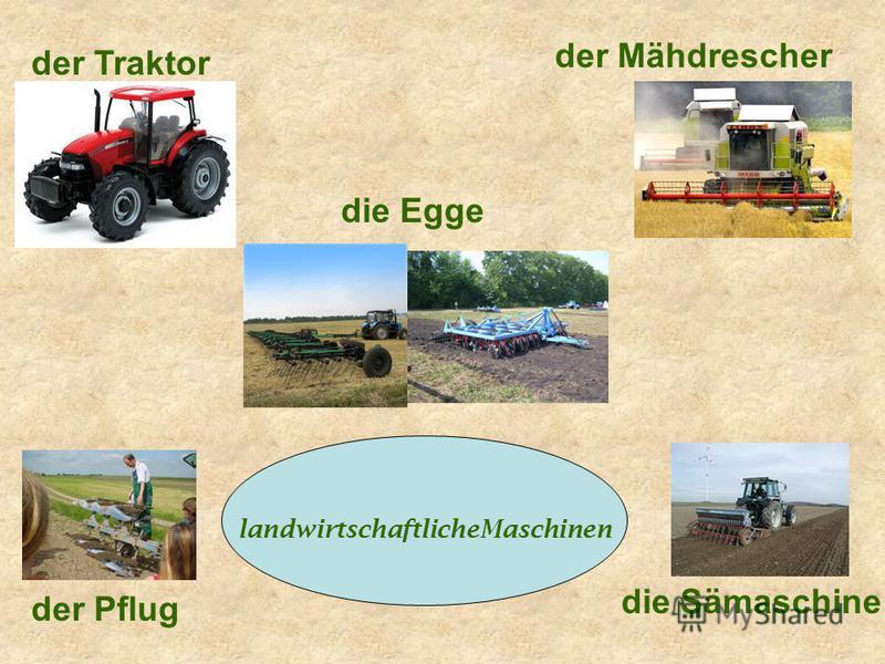 landwirtschaftlicheMaschinen der Traktor die Egge der Mähdrescher der Pflug die Sämaschine