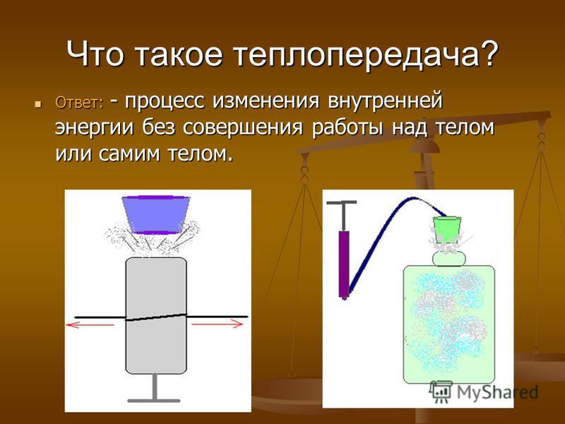 Что такое теплопередача? Ответ: - процесс изменения внутренней энергии без совершения работы над телом или самим телом. Ответ: - процесс изменения внутренней энергии без совершения работы над телом или самим телом.