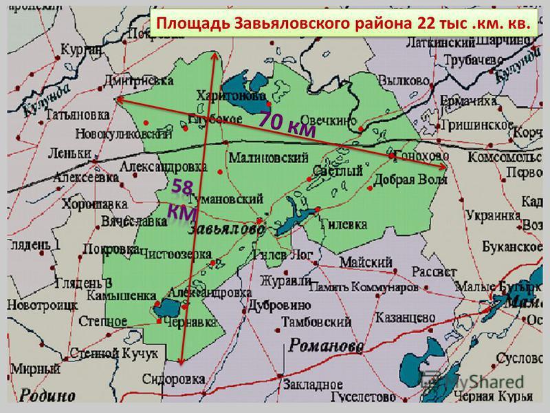 Площадь Завьяловского района 22 тыс.км. кв.
