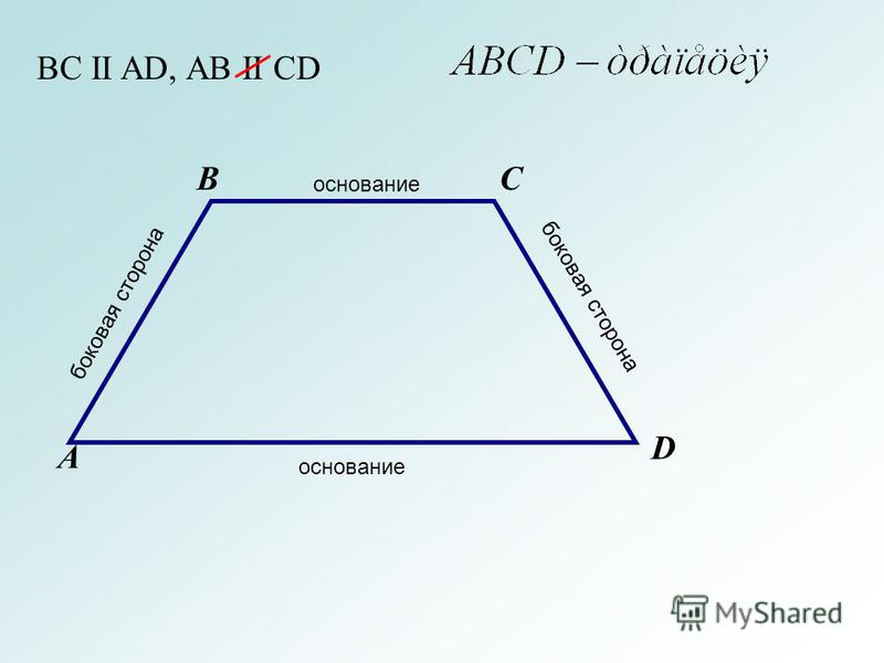 А BC D BC II AD, AB II CD основание боковая сторона