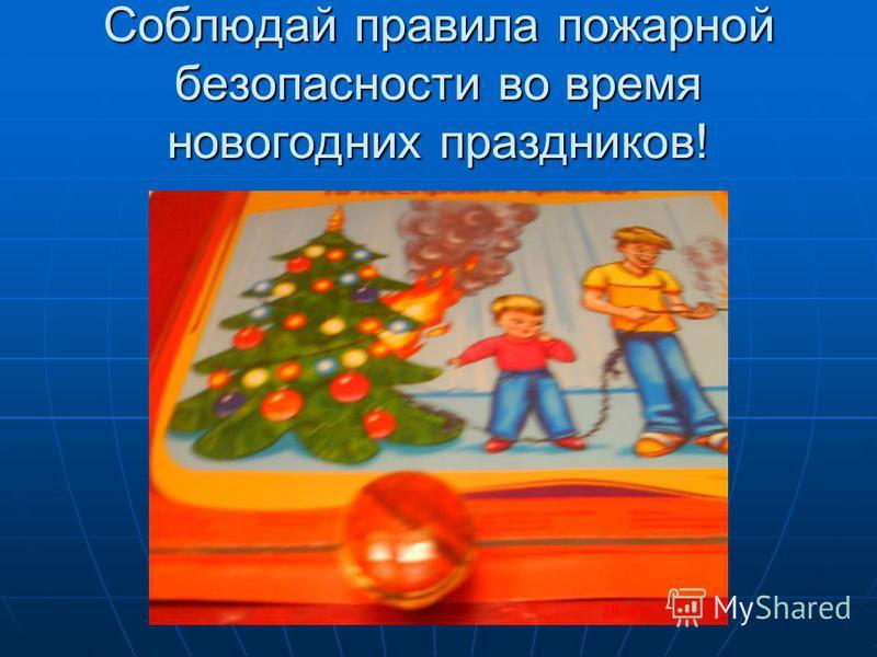 Соблюдай правила пожарной безопасности во время новогодних праздников!
