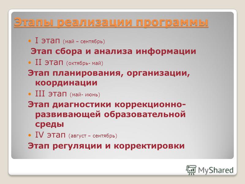 Этапы реализации программы I этап (май – сентябрь) Этап сбора и анализа информации II этап (октябрь- май) Этап планирования, организации, координации III этап (май- июнь) Этап диагностики коррекционно- развивающей образовательной среды IV этап (авгус