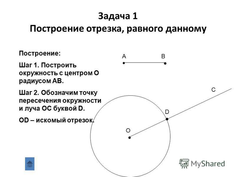 Задача 1 С помощью циркуля и линейки без делений на данном луче отложить отрезок, равный данному Дано: отрезок АВ луч ОС Построить: отрезок ОD,OD=AB AB C O