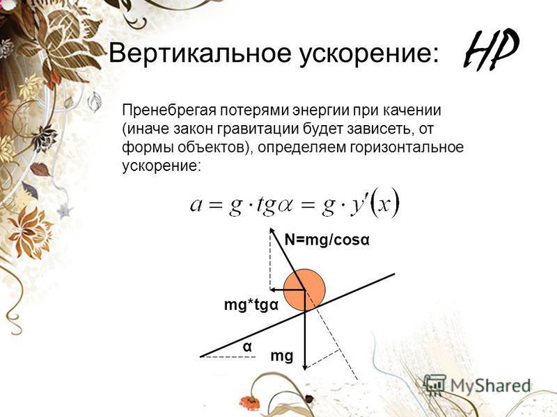 HP Вертикальное ускорение: Пренебрегая потерями энергии при качении (иначе закон гравитации будет зависеть, от формы объектов), определяем горизонтальное ускорение: mg N=mg/cost α mg*tgα