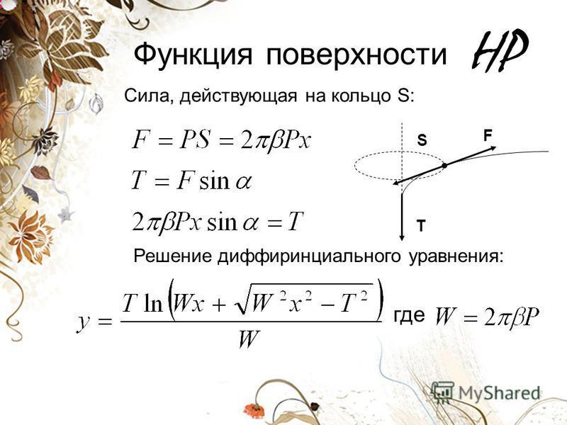 HP Функция поверхности T F Сила, действующая на кольцо S: S Решение дифференциального уравнения: где