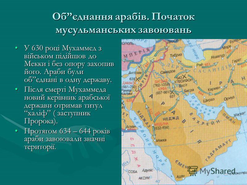 Обєднання арабів. Початок мусульманських завоювань У 630 році Мухаммед з військом підійшов до Мекки і без опору захопив його. Араби були обєднані в одну державу.У 630 році Мухаммед з військом підійшов до Мекки і без опору захопив його. Араби були обє